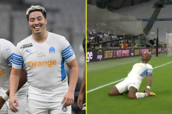 Didier Drogba scores hat-trick and does iconic Chelsea celebration in charity match with likes of Samir Nasri and Robert Pires and Arsenal legend Arsene Wenger in dugout