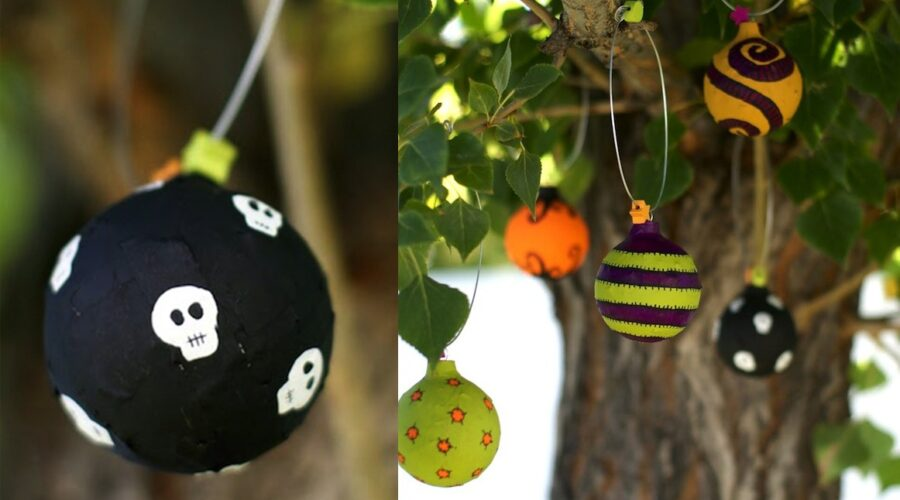 upcycled Halloween ornaments
